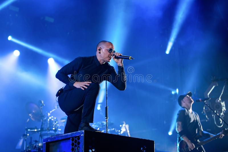Linkin Park music band perform in concert at Download heavy metal music festival royalty free stock image