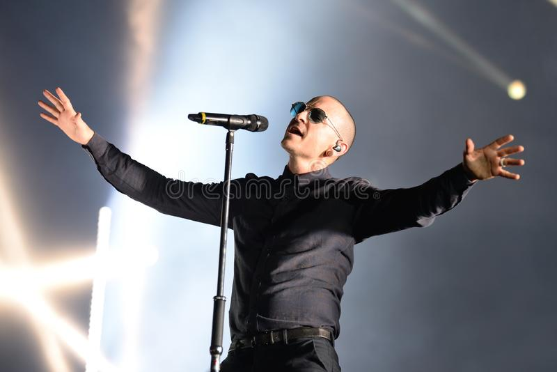 Linkin Park music band perform in concert at Download stock image