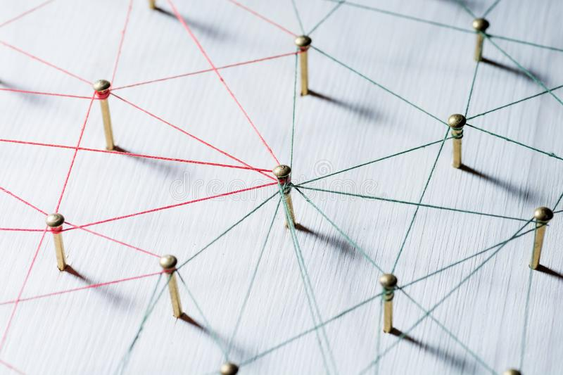 Linking entities. Network, networking, social media, connectivity, internet communication abstract. Web of thin thread. On white background royalty free stock photos