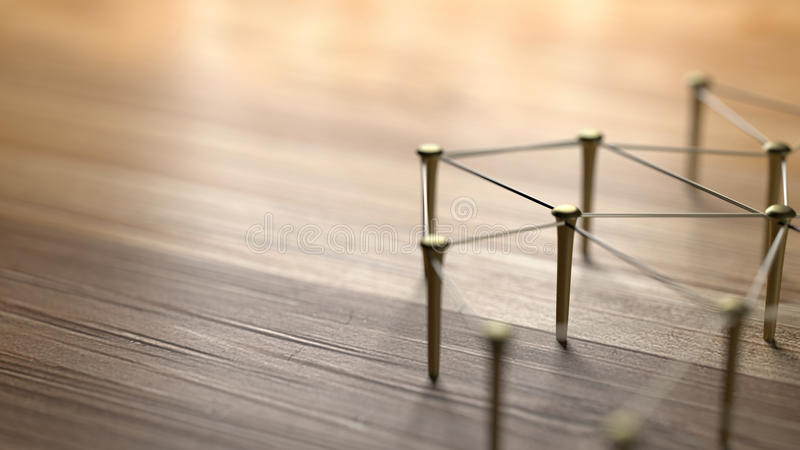 Linking entities. Network, networking, social media, internet communication abstract. Web of gold wires on rustic wood. vector illustration