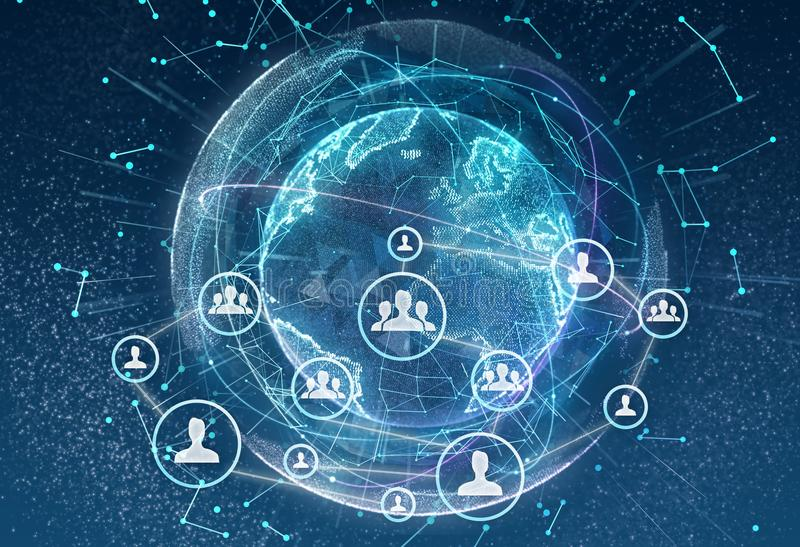 Linking entities. Networking, social media, communication on earth background. Small network connected to a larger stock illustration