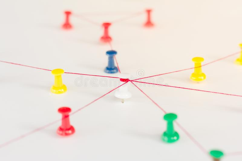 Linking entities. Networking, social media, internet communication abstract. Small network connected to a larger network stock photos