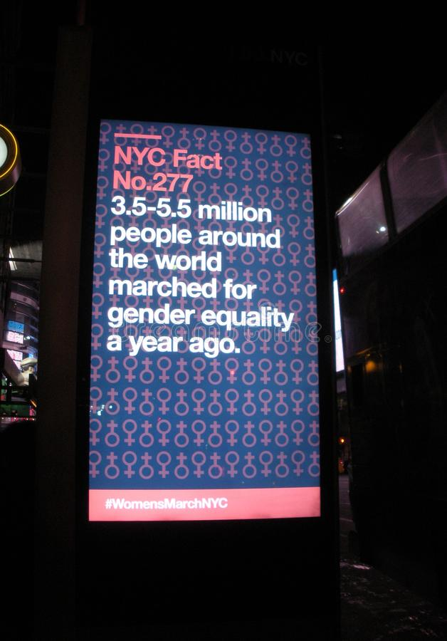 Gender Equality, LinkNYC Kiosk NYC Fact, NYC, NY, USA royalty free stock photos