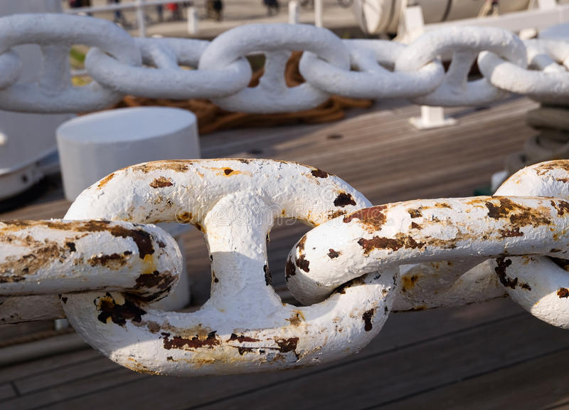 Links in a chain. Links in a big chain. The chain belongs to a Spanish tall ship stock photos