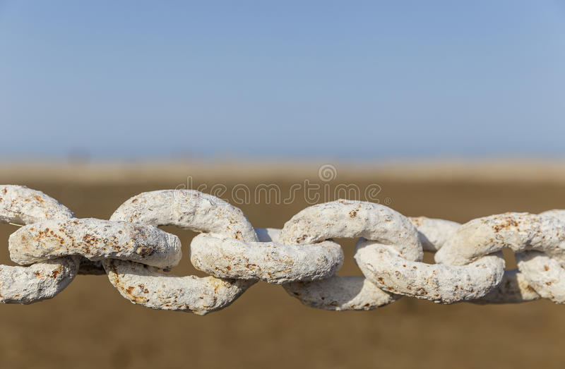 The links of the chain close-up of the ship. Object royalty free stock images