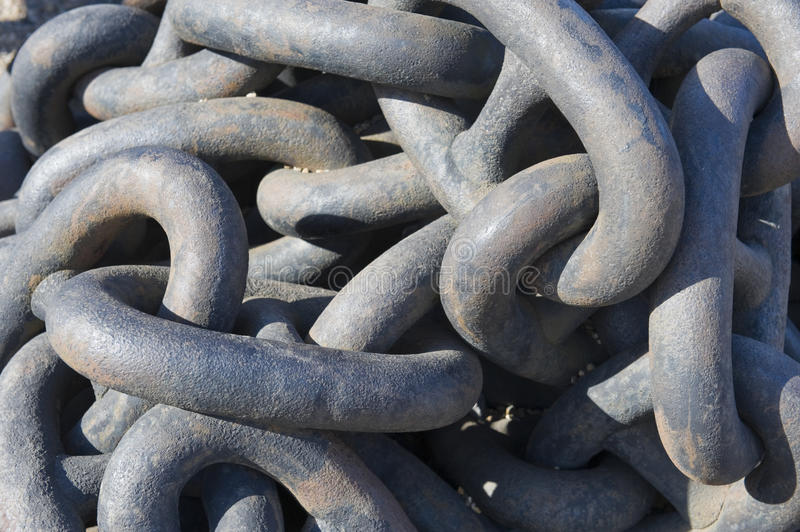 Links on chain. Links on shipping chain close up royalty free stock photography
