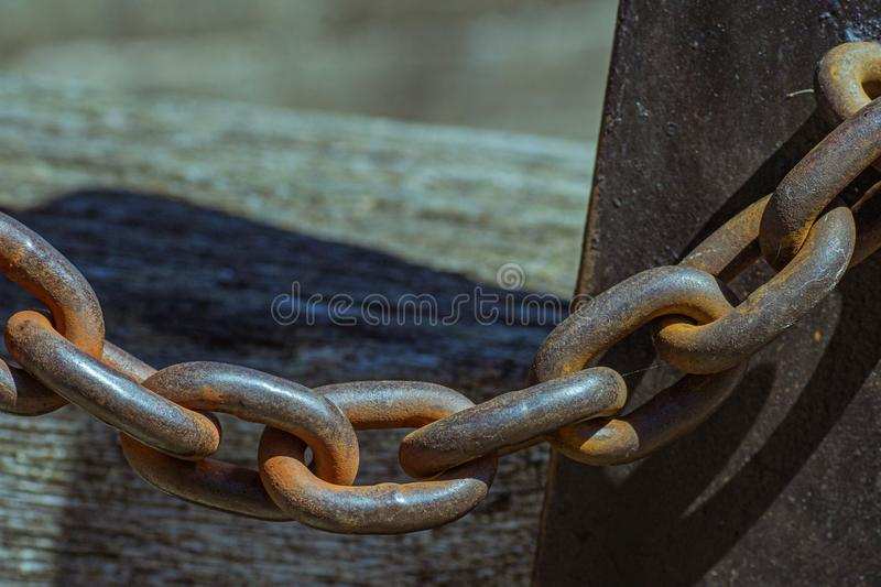 Links of a heavy-duty chain royalty free stock image