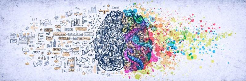 Links-rechts menselijk hersenenconcept, geweven illustratie Creatief linker en juist deel van menselijke hersenen, emotial en log royalty-vrije stock foto's