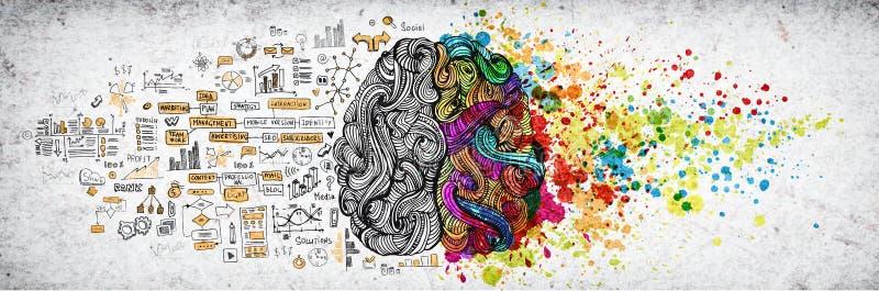 Links-rechts menselijk hersenenconcept, geweven illustratie Creatief linker en juist deel van menselijke hersenen, emotial en log stock fotografie