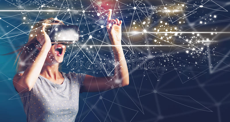 Links with young woman with VR. Links with young woman using a virtual reality headset royalty free stock photos