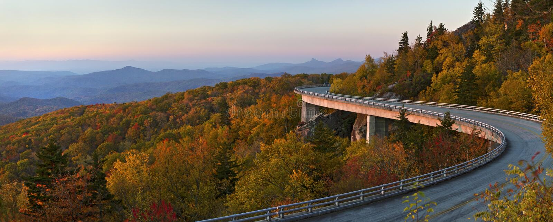 Linn Cove Viaduct Pano, Blue Ridge Parkway royalty free stock photography