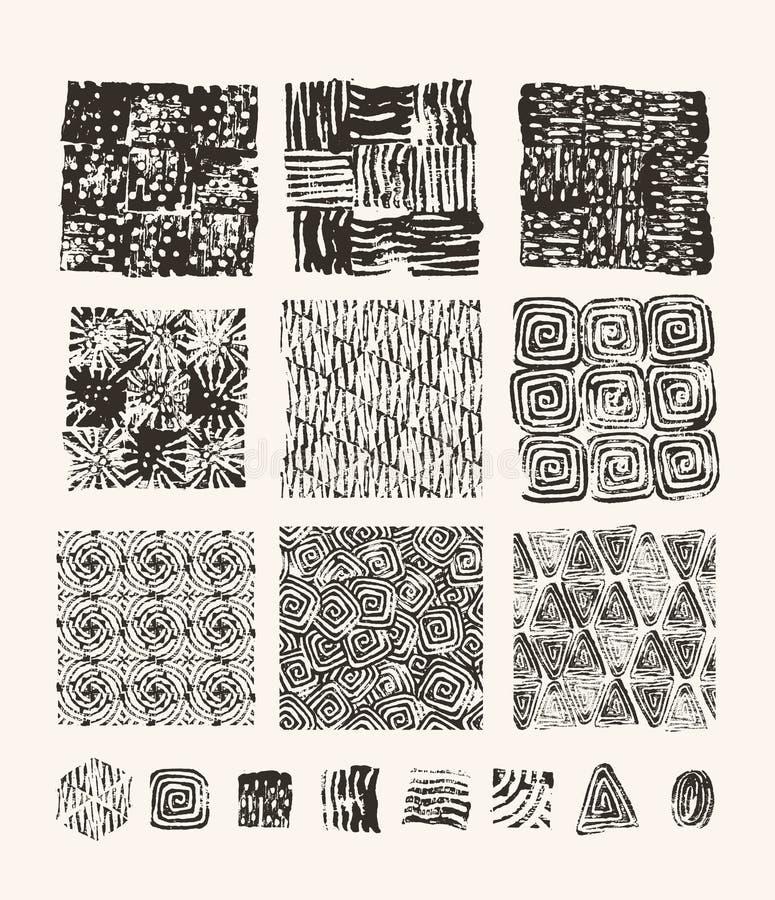 Lino rżnięte tekstury royalty ilustracja