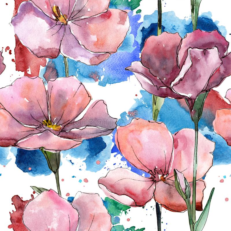 Lino rosa del Wildflower Fiore botanico floreale Modello senza cuciture del fondo royalty illustrazione gratis