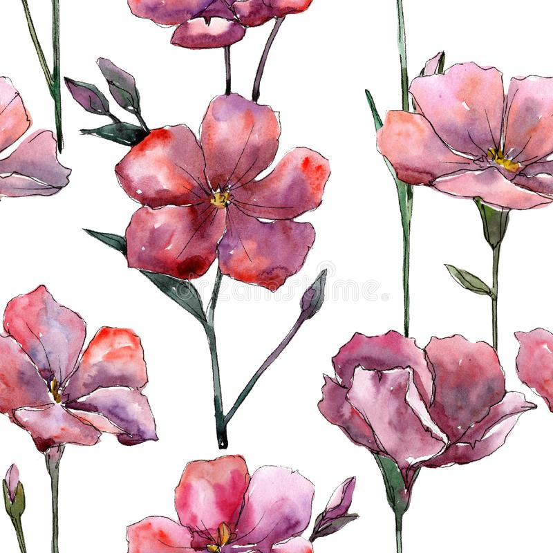 Lino rosa del Wildflower Fiore botanico floreale Modello senza cuciture del fondo illustrazione vettoriale