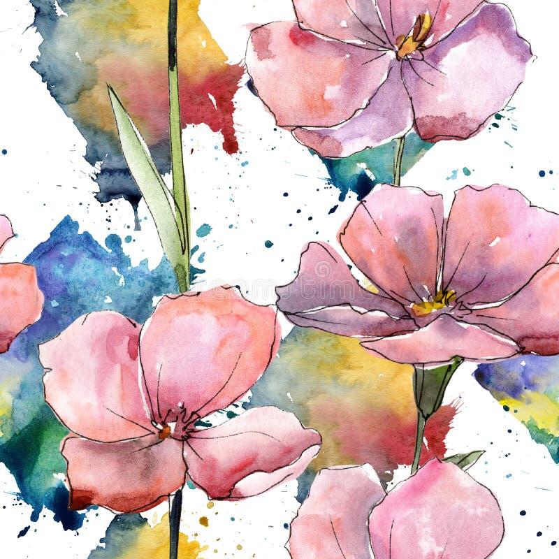 Lino rosa del Wildflower Fiore botanico floreale Modello senza cuciture del fondo illustrazione di stock