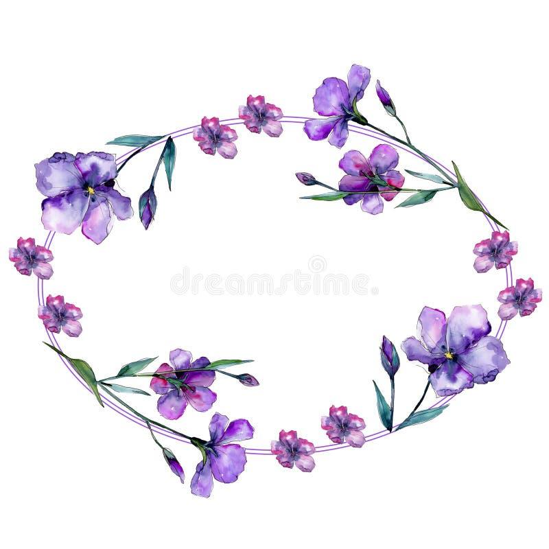 Lino viola Fiore botanico floreale Quadrato dell'ornamento del confine della pagina illustrazione di stock