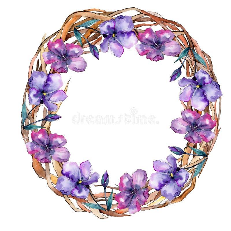 Lino viola Fiore botanico floreale Quadrato dell'ornamento del confine della pagina royalty illustrazione gratis