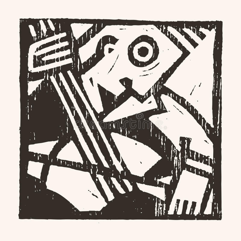 Linocut geometriskt tecken -08 royaltyfri illustrationer