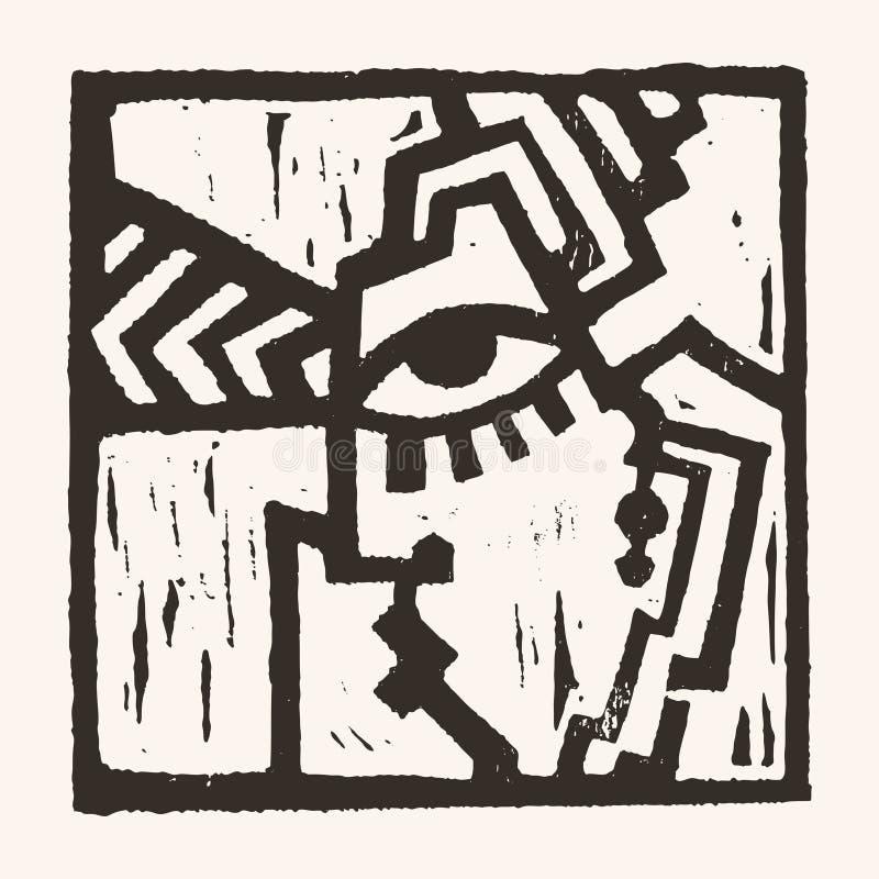 Linocut geometryczny charakter -04 ilustracji