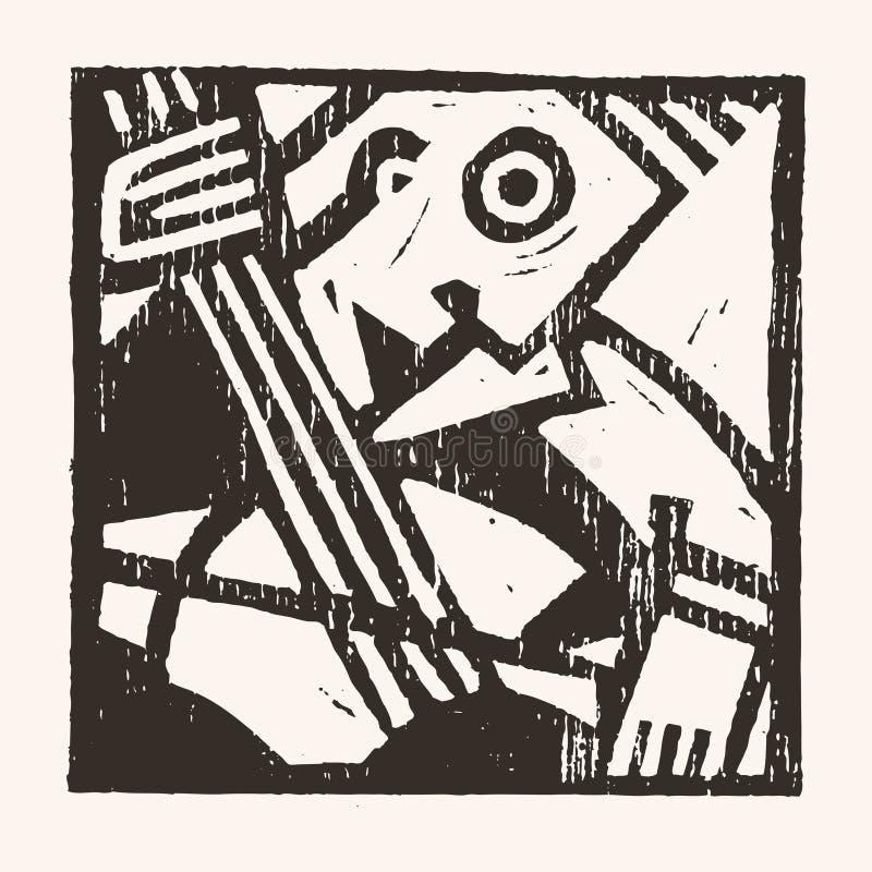 Linocut geometryczny charakter -08 royalty ilustracja
