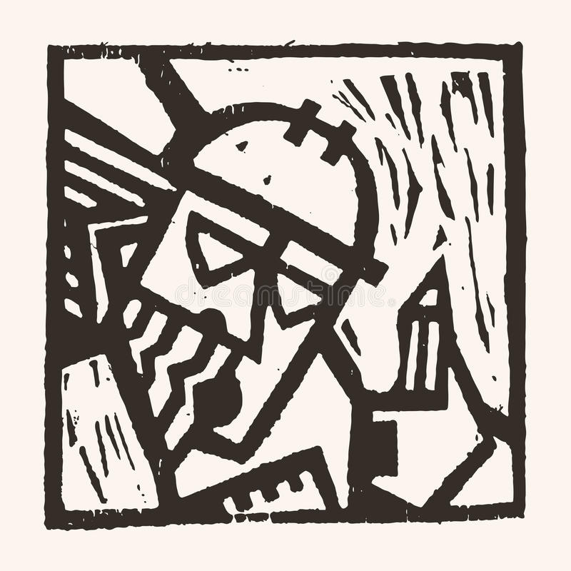 Linocut geometryczny charakter -03 royalty ilustracja