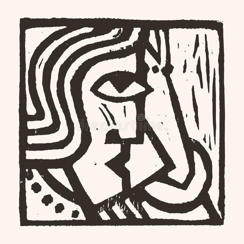 Linocut geometryczny charakter -11 ilustracja wektor