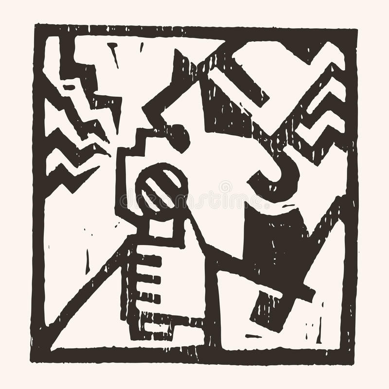 Linocut geometryczny charakter -09 royalty ilustracja