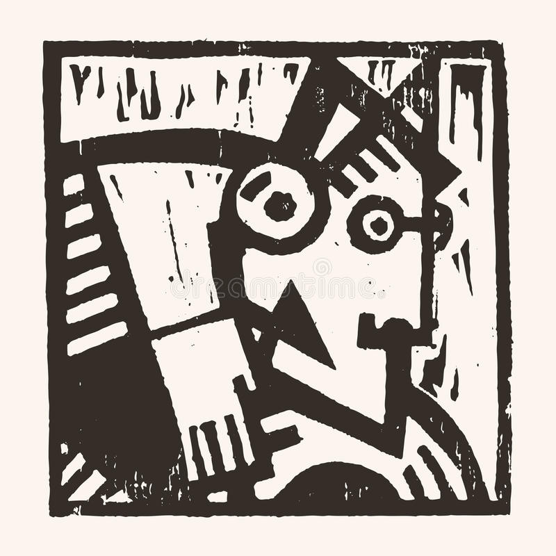 Linocut geometryczny charakter -12 royalty ilustracja