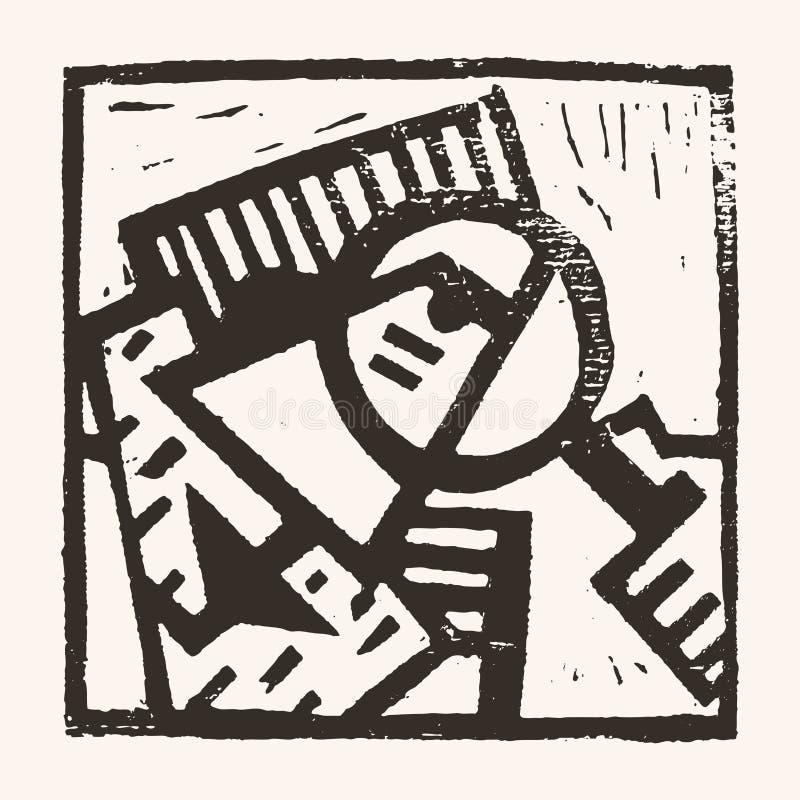 Linocut geometryczny charakter -01 ilustracji