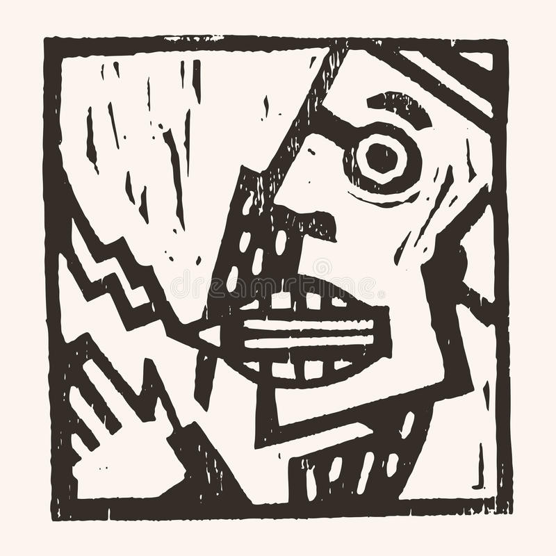 Linocut geometryczny charakter -05 royalty ilustracja