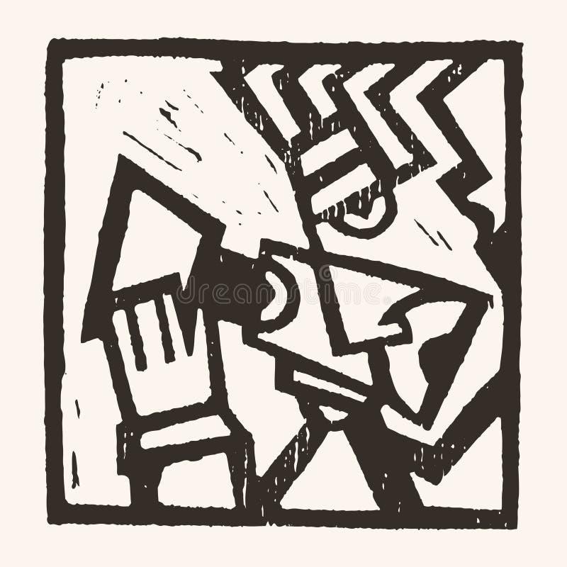 Linocut geometryczny charakter -07 royalty ilustracja