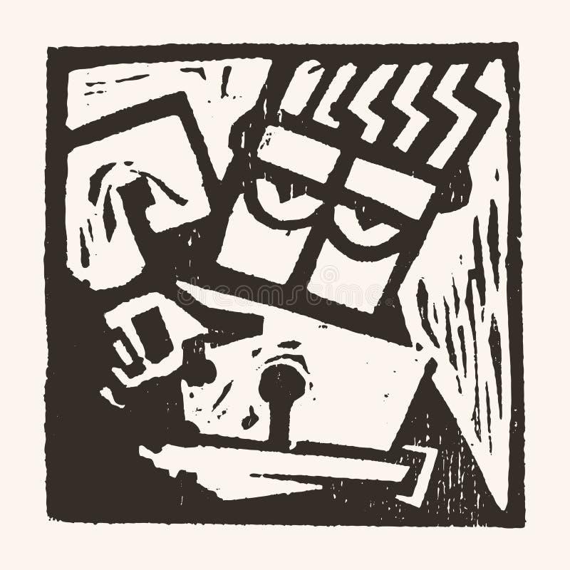 Linocut geometryczny charakter -02 royalty ilustracja