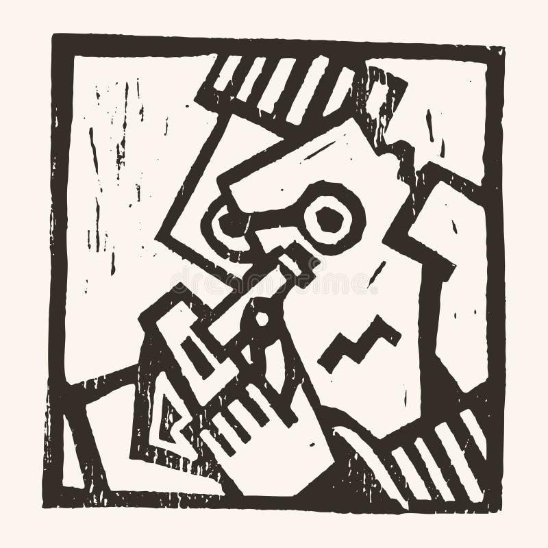 Linocut geometryczny charakter -06 ilustracji