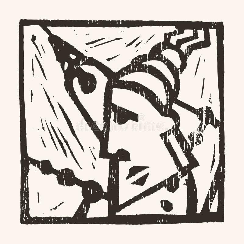 Linocut geometryczny charakter -10 ilustracji