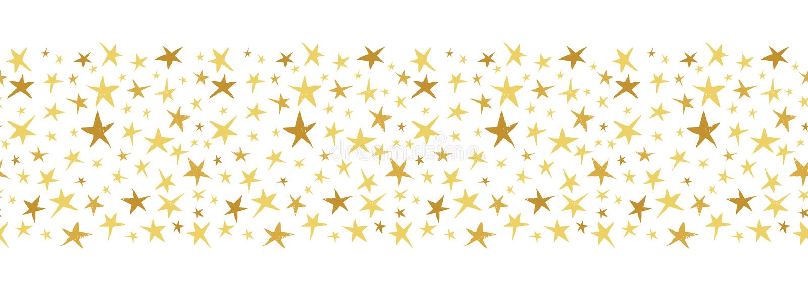 Linocut Gold and Yellow Stars on White Background Vector Seamless Border Pattern. Winter Christmas Hand Made Print stock illustration