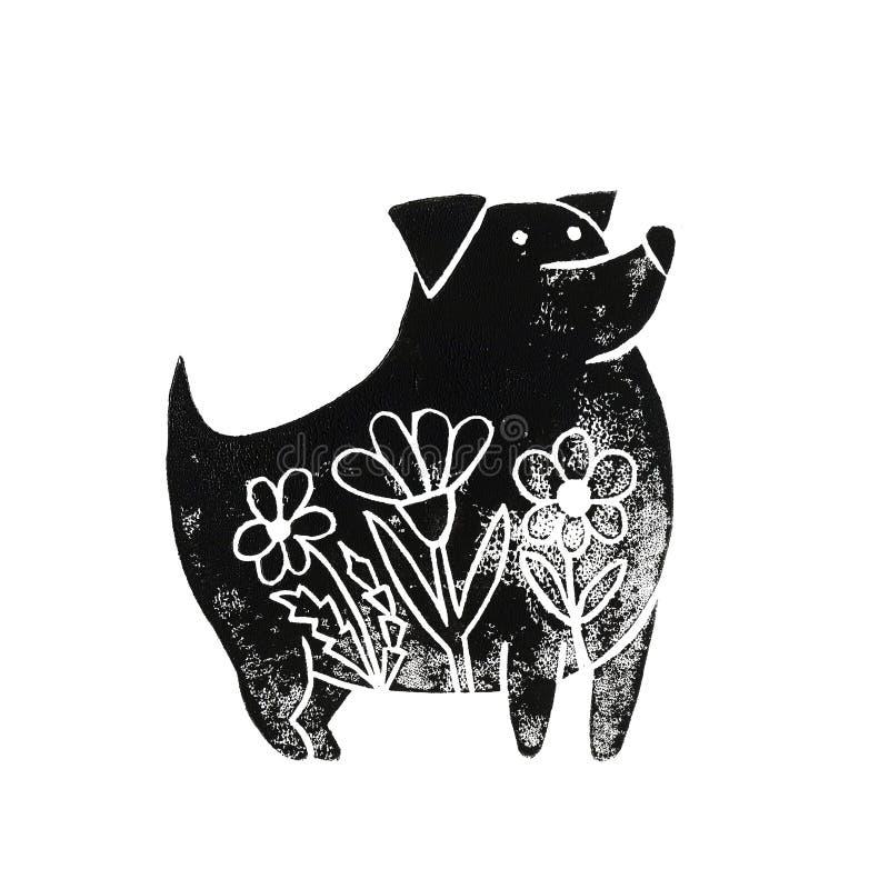 Linocut-Hund mit Blumen lizenzfreie abbildung