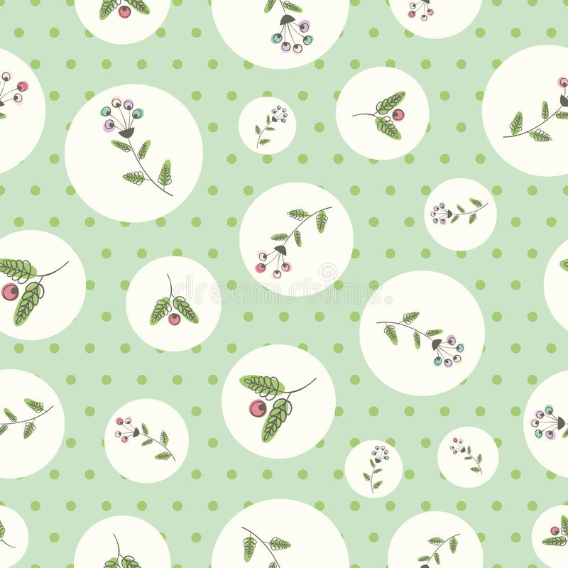 Linocut style flowers and leaves with offset color in white circles. Seamless vector pattern on green polka dot. Background. Great for wellbeing, beauty stock illustration