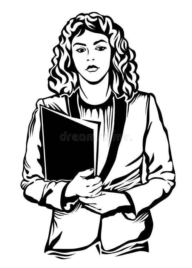 Woman linocut style illustration. stock illustration
