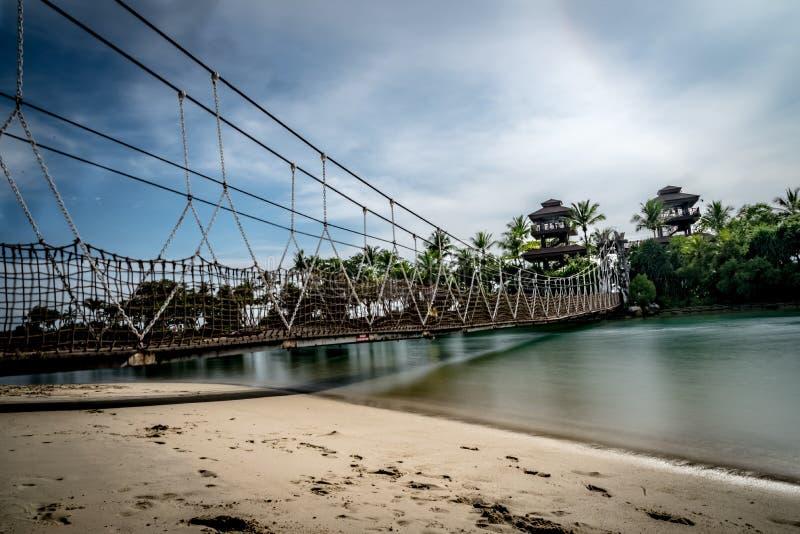 Linowa zawieszenie mosta Palawan plaża Sentosa Singapur obrazy royalty free