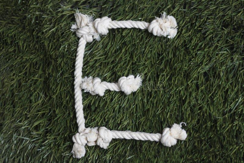 Linowy abecadło na trawie Listowy E zdjęcie stock
