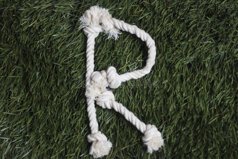 Linowy abecadło na trawie literę r zdjęcia royalty free