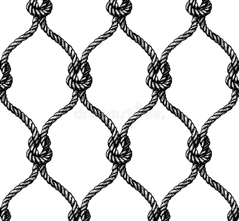 Linowy bezszwowy wiązany fishnet wzór royalty ilustracja