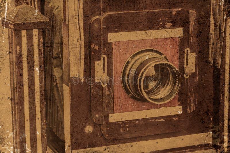 Lins för gammal för kamera för tappning främre closeup för stort format royaltyfria bilder
