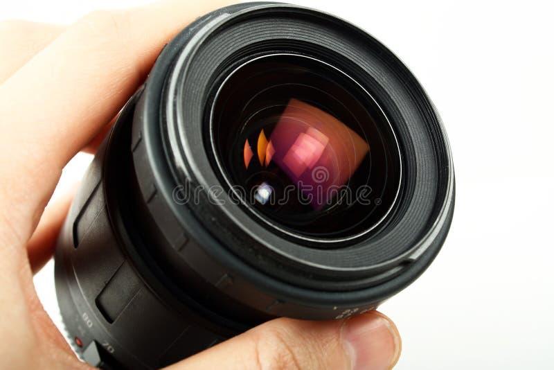 lins för kamerahandholding royaltyfri bild