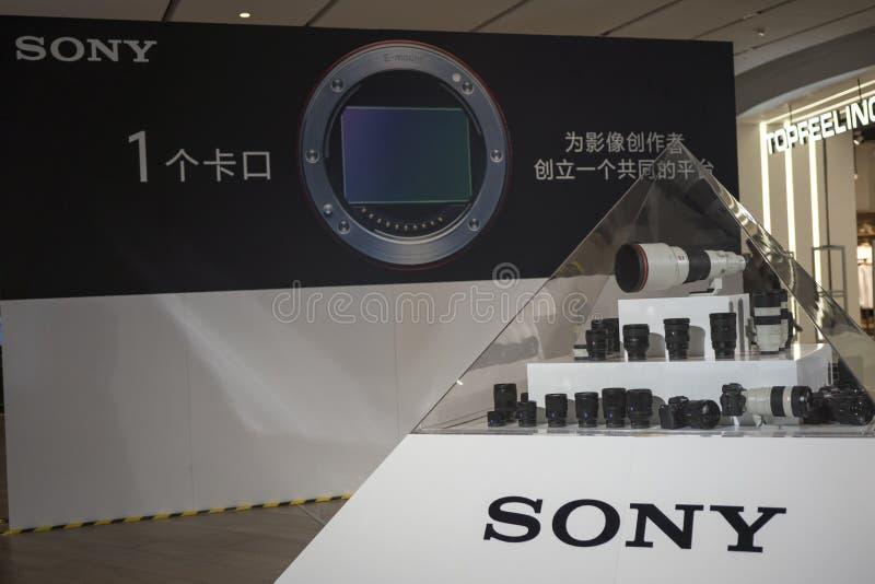 Linse auf Anzeige bei Sony Expo 2019 lizenzfreie stockfotos
