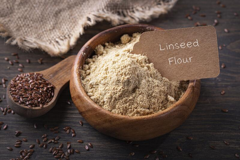 Linseed flour stock photo