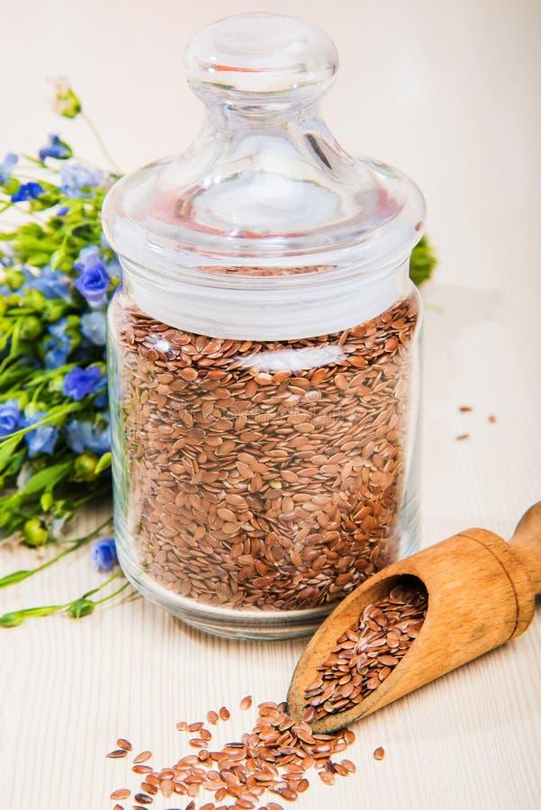 Linseed olej, lnów ziarna i kwiaty na lekkim tle, zdjęcie stock