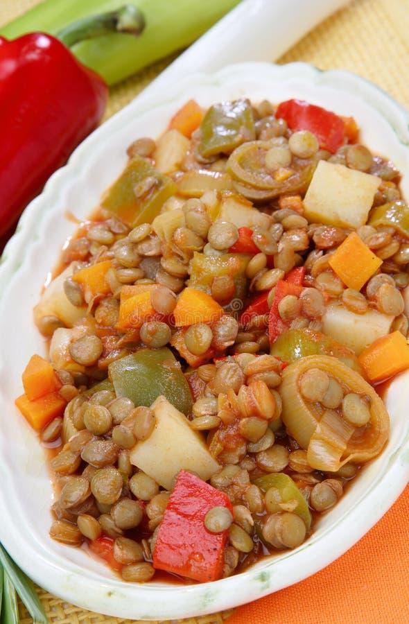 Linseeintopfgericht mit Gemüse lizenzfreies stockfoto