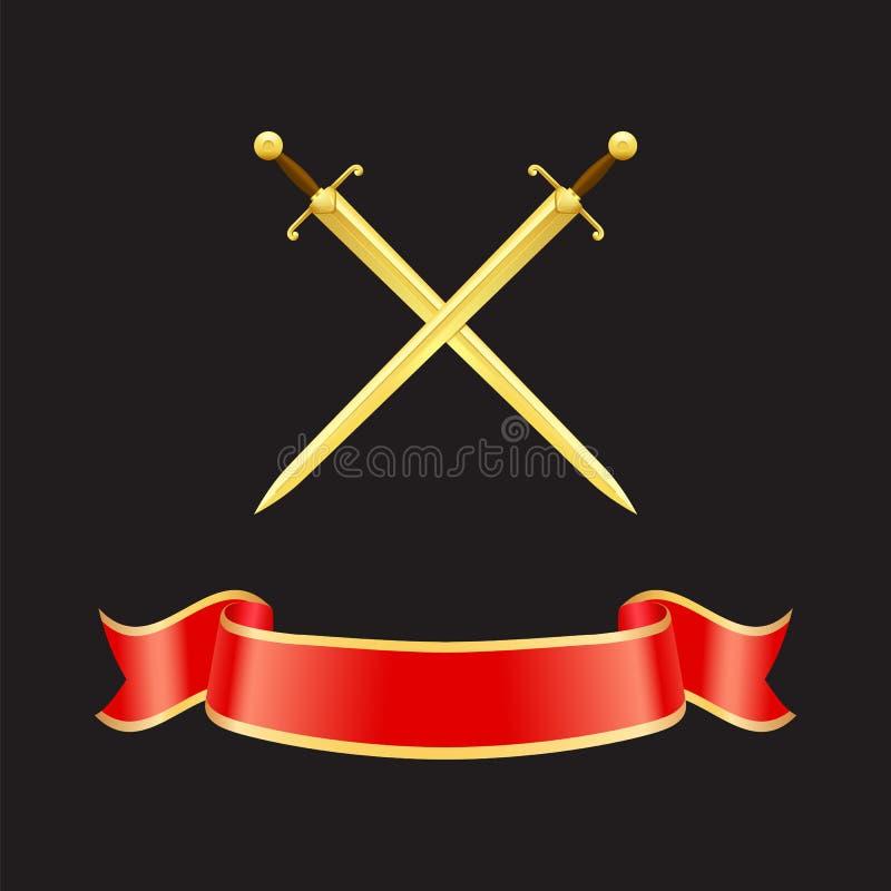 Lint Gegolfte Banner en Zwaarden Vectorillustratie vector illustratie