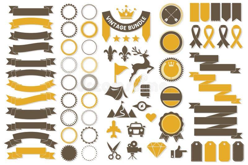 Lint Uitstekend Vectorembleem voor banner royalty-vrije illustratie